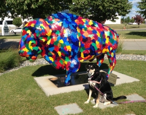 Choppy has a thing about statues. By 'thing,' I mean that she seems to think most of them are alive. We stop at many, many statues so that Choppy can bark at them. Thankfully, rainbow painted bison statues are apparently an exception to Choppy's normal barking.