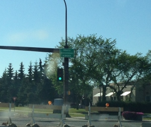 This is the border of Saskatchewan and Alberta, which is just a random street in Lloydminster. Interesting note: Lloydminster is not separate cities on each side of the border, but one city that straddles the border and apparently is considered bi-provincial. You can make your own joke about that one.