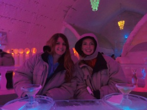 A picture from our trip to the Ice Museum (and bar!) at Chena Hot Springs, outside of Fairbanks. To paraphrase my sister on this photo, guess which one lives in Minnesota?