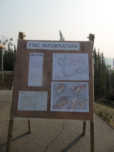 """This sign showed fire information. Not in a """"you should probably evacuate"""" way, but in a """"hey, stuff's on fire. Here's where it is, in the event you want to look at it"""" way. Ah, Alaska."""