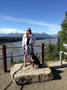 An unanticipated bonus of having my sister on the trip: I no longer had to set up the tripod to get pictures of Choppy and me. I had Charlotte to take awesome shots like this one with Denali in the background (under the clouds).
