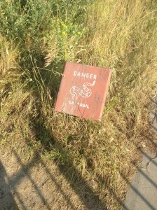 From Little Bighorn: I assume that this means there are rattlesnakes on the trail.