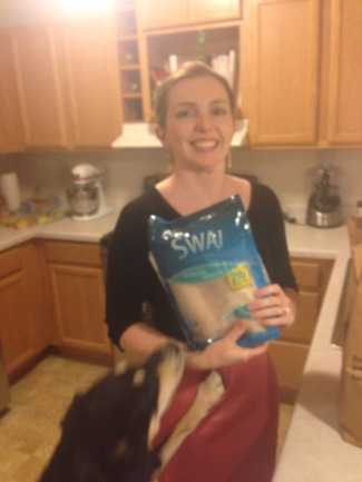 The second Chopped ingredient: fish (Swai). As you can see, Choppy was very excited about this particular ingredient.