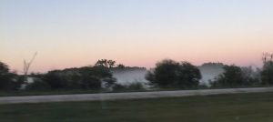 On the plus side, the early morning meant we got to see some beautiful scenery and fog along the road.