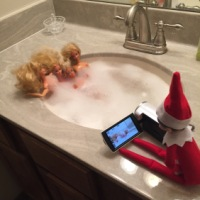 December 1 Elf on the Shelf: Hot Tub